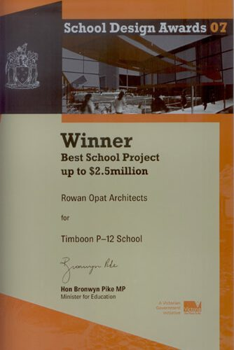 Opat Architects Australia Melbourne School Timboon sub school years 5 to 8 School Design Vicrorian Governement Award Best school Project up to $2.5 million