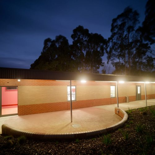 Opat Architects Australia Melbourne School Timboon sub school years 5 to 8 south with brick seating