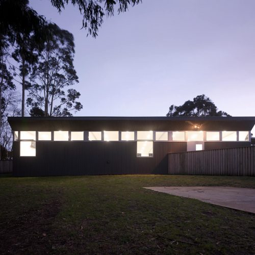 Opat Architects Australia Melbourne School Timboon sub school years 5 to 8 northern elevation at dusk
