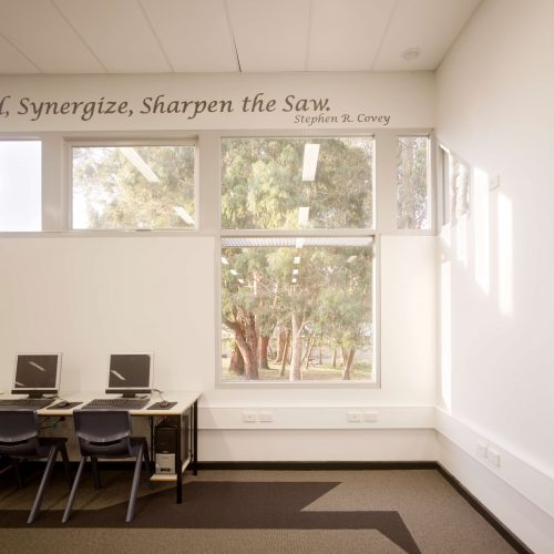 Opat Architects Australia Melbourne School Timboon sub school years 5 to 8 sunlight tracking along wall. Future pattern marked in the carpet.