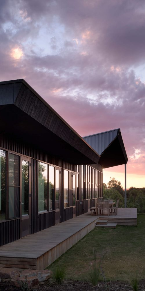 Opat Architects Couryard House Somers northern deck at dusk