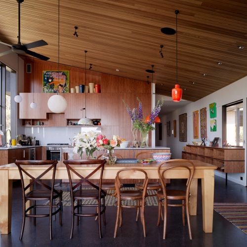 Opat Architects Couryard House Somers kitchen, and dining