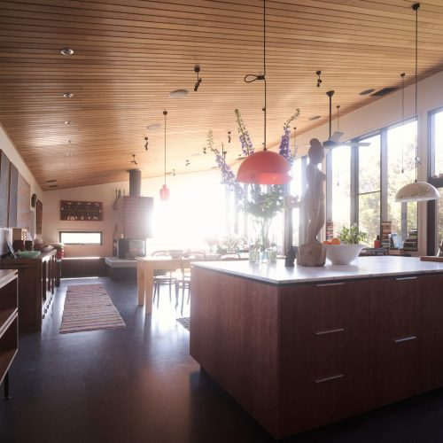 Opat Architects Couryard House Somers kitchen, dining and living area looking to the north west