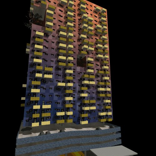 Opat Architects Brick Tower South Yarra Station Competition perspective render polychromatic render study