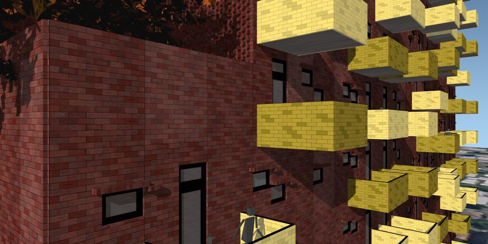 Opat Architects Brick Tower South Yarra Station Competition perspective render detail study