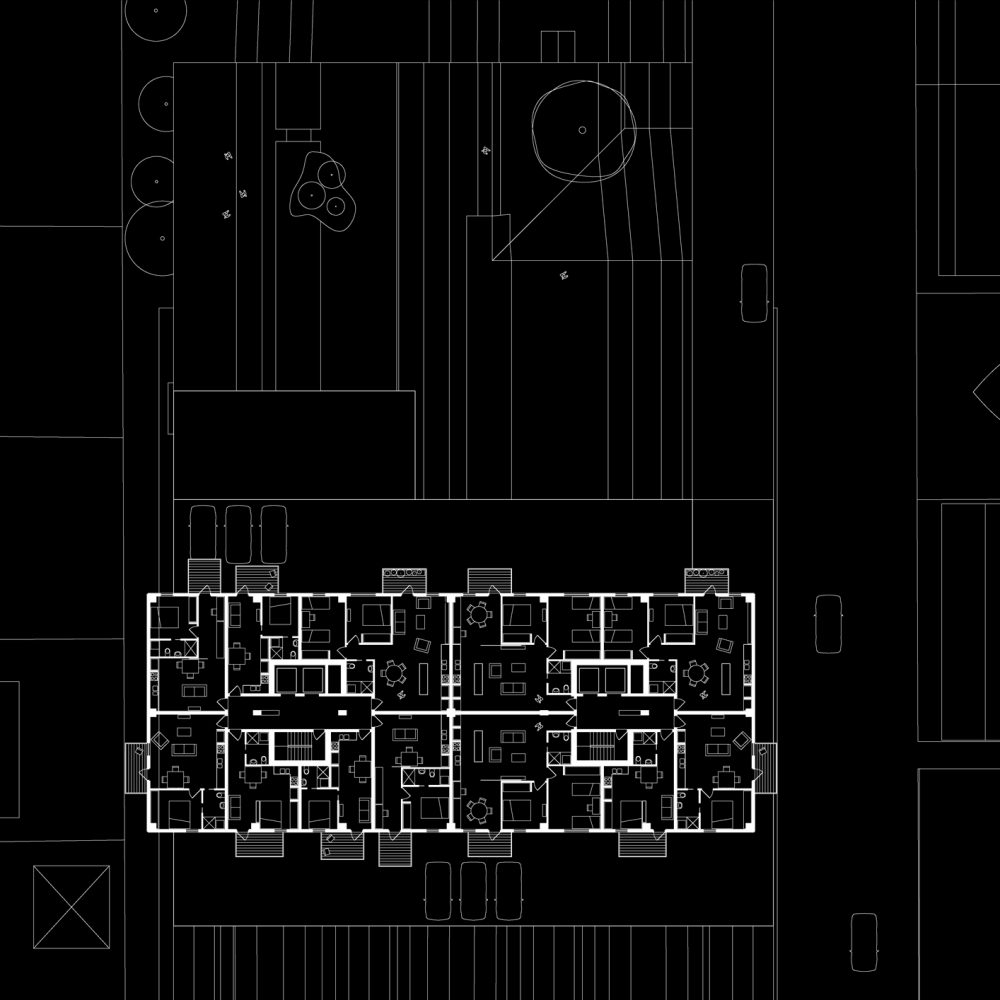 Opat Architects Brick Tower South Yarra Station Competition typical upper level floor plan drawing