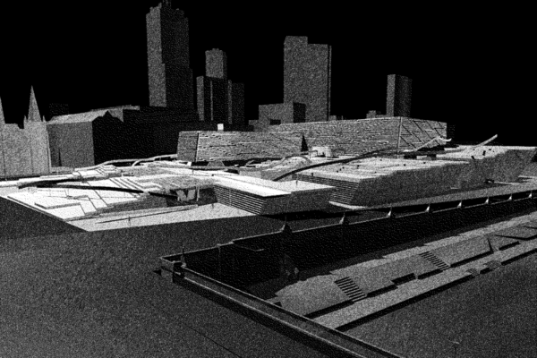 Opat Architects Federation Square 1997 Rowan Opat Final student project RMIT perspective render