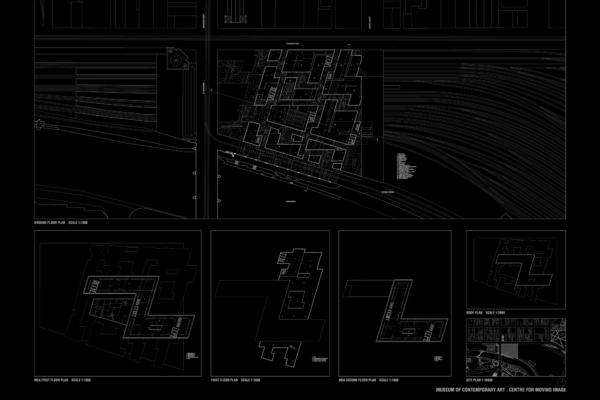 Opat Architects Federation Square 1997 Rowan Opat Final student project RMIT plan drawings