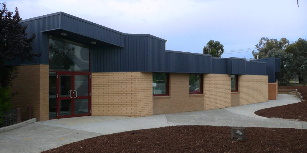 Opat Architects Hampton Park School facility new adminstration media studio and staff room. Photo of new main entry.