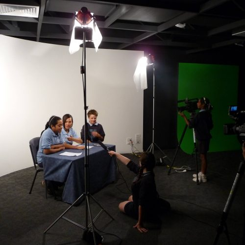 Opat Architects Hampton Park School facility new adminstration media studio and staff room. Filming in the studio.