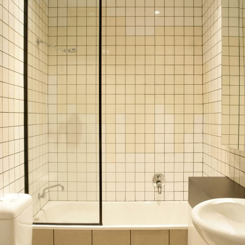 Opat Architects Infill South Yarra photo of bathroom with splash pattern tiling