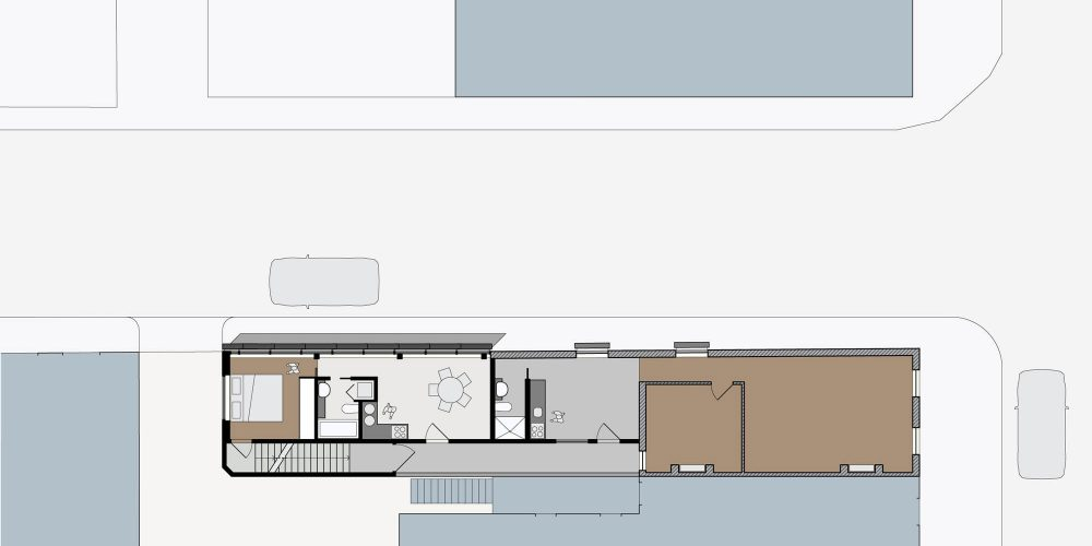 Opat Architects Infill South Yarra first floor plan drawing showing two seperate residences