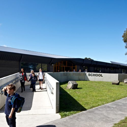 Opat Architects Inverloch Primary School main entry ramp at home time