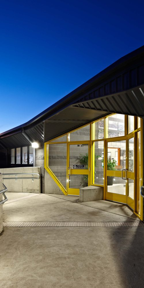 Opat Architects Inverloch Primary School main entry at dusk