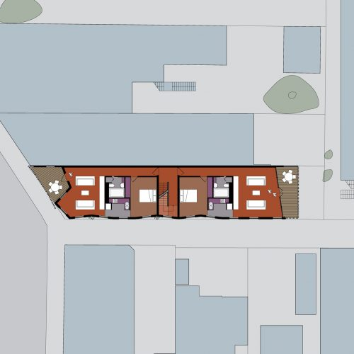 Opat Architects Mixed Use Brighton first floor plan showing two 1 bedroom papartments layout and articulated concrete panle exterior wrapped around the south and west