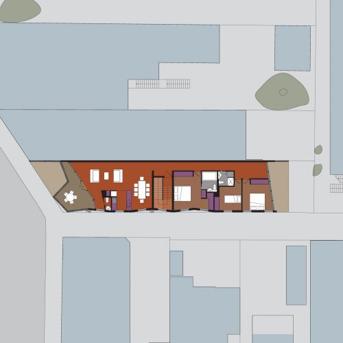 Opat Architects Mixed Use Brighton second floor plan showing three bedroom papartment layout and articulated concrete panle exterior wrapped around the south and west