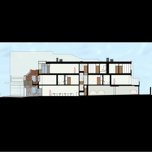 Opat Architects Mixed Use Brighton seciton drawing showing offices and carparking at the ground level and residential apartments at the first and second floors