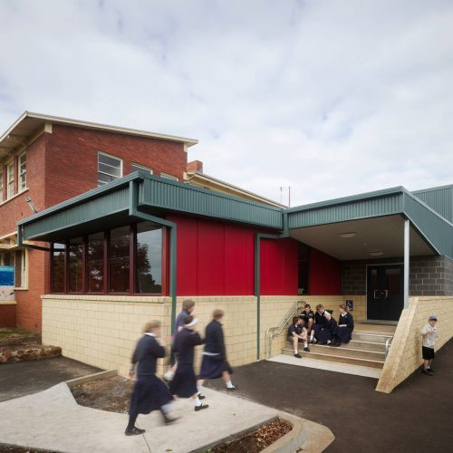 Opat Architects Camperdown School new middle school building. Photo of exterior southern western corner break out space and connection to outoor learning.