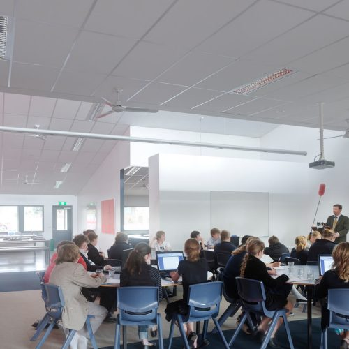 Opat Architects Camperdown School new middle school building. Photo of interior common space and various breakout spaces.